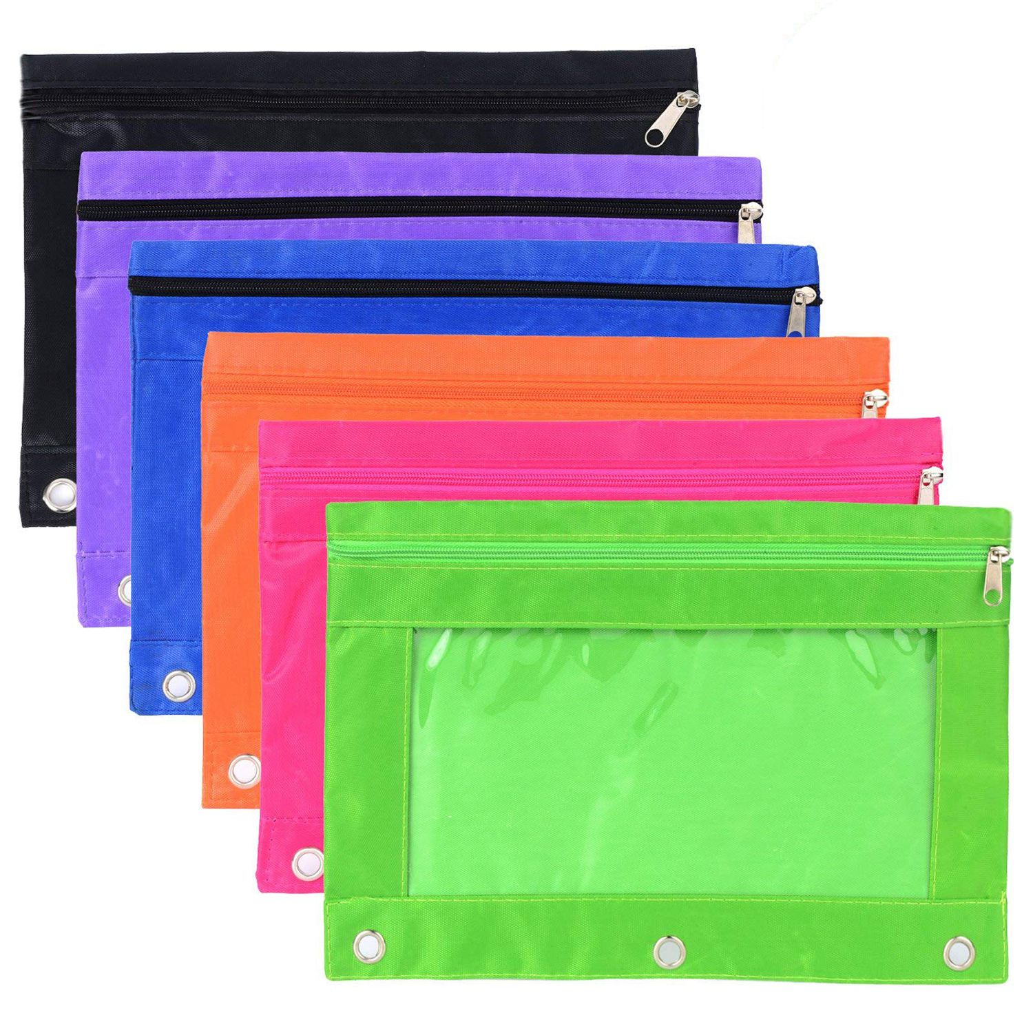 Hot sale 6 Pieces Ring Binder Pouch Pencil Bag with Holes 3-Ring Zipper Pouches with Clear Window (6 Colors) clear wood handle bag with sequin pouch