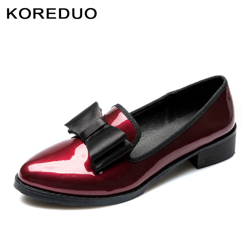 KOREDUO New British Style Women Shoes Vintage Round Toe Bowknot Patent Leather Women Loafers Thick Heels Flats Size34-41 ms shehuimei brand 2018 women flats patent leather oxford shoes woman loafers vintage british style round toe handmade casual shoes