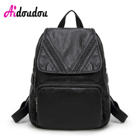 AIDOUDOU BRAND Cute School Bags V Shape Knitting Backpack For Girls Travel Back Bag Fogareiro Luggage Flap Pocket Side Zipper