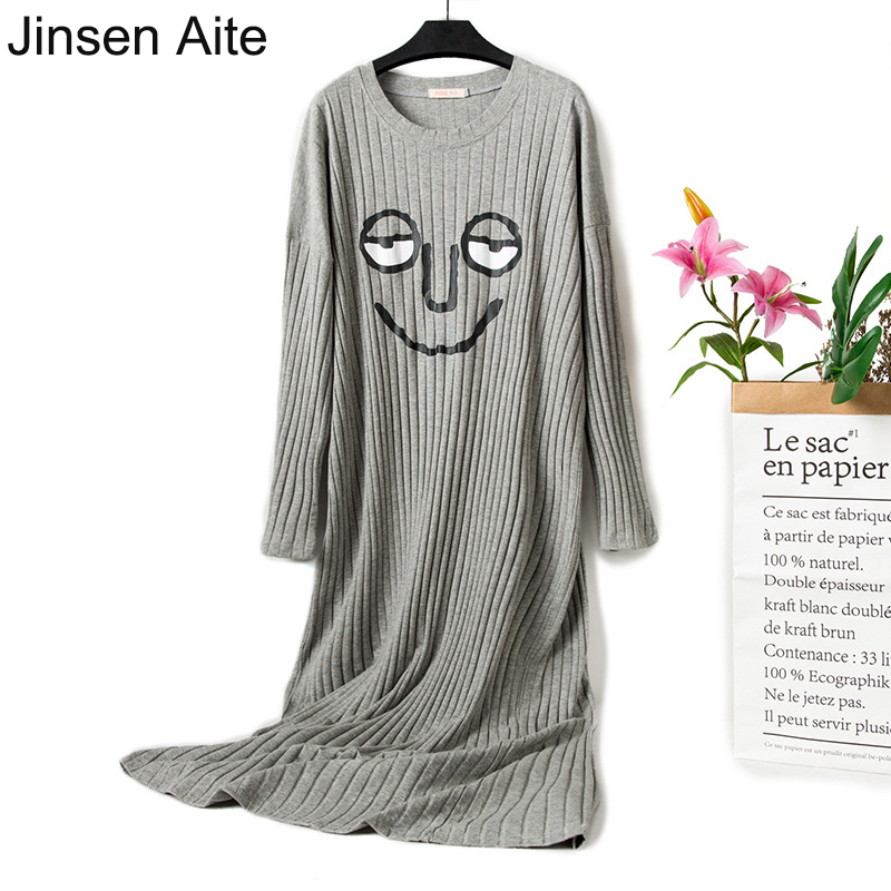Jinsen Aite New Cotton Women Nightgowns Sleepshirts Long Sleeve Cartoon Large Size Pregnant Spring Autumn Home Nightdress JS753