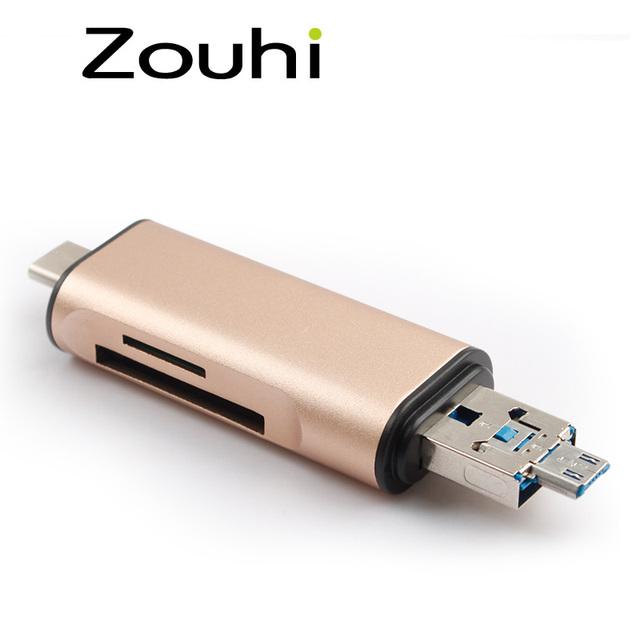 Alumínio TUDO em 1 OTG Para Android Phone, Tipo-C 3.0 Cartão leitor, a Velocidade de USB 2.0 SD TF Cartão de Transmissão de Dados e Carregamento leitor