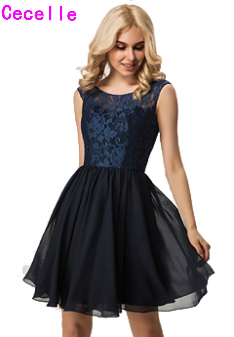 Online get cheap country rustic bridesmaid dresses aliexpress 2017 navy country short bridesmaid dresses sleeveless lace top chiffon skirt informal rustic wedding party gowns bridesmaid robe ombrellifo Choice Image