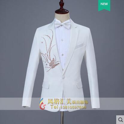 לקדוח להדביק פרפר בגדי גברים slim חליפות עיצובים לזמרי במה ריקוד פאייטים גברים מעיל בלייזר לבן בסגנון כוכב