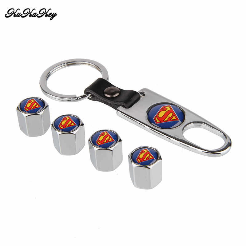 KUKAKEY 4 Caps + 1 Corrente Chave Airtight Roda Universal de Ar do Pneu Hastes Tampas de Ar Válvula Do Pneu de Bicicleta Caps Superman estilo do carro Emblema