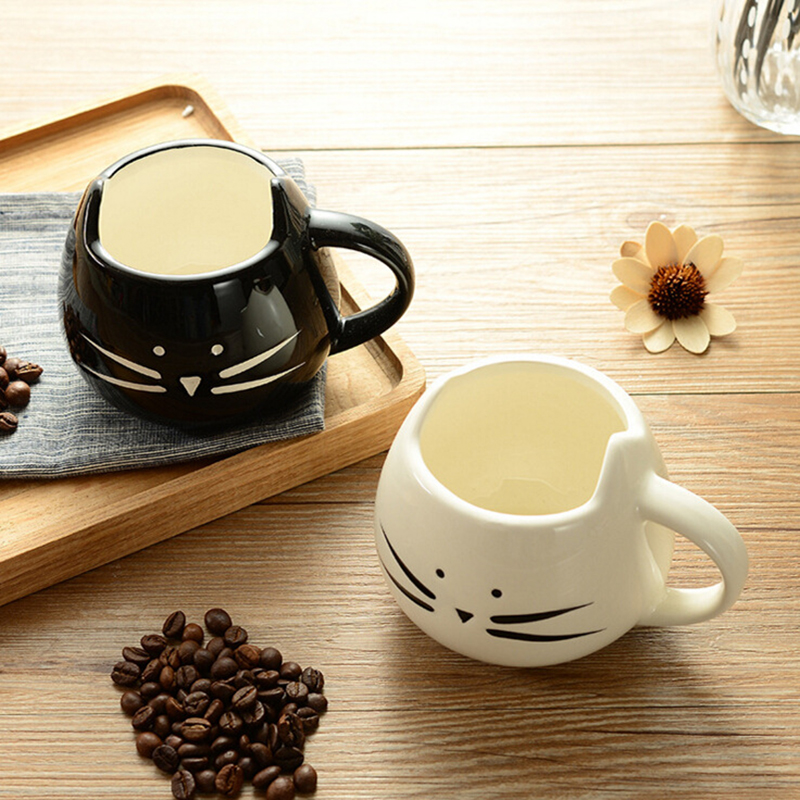 Cute Ceramic Coffee Mug Novelty Milk Tea Cups and Mugs Creative Cat Mugs with Spoon Animal Mugs Drinkware Christmas Gift