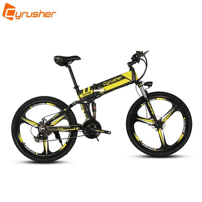 cyrusher xf700 unisex folding electric bike 250 watt 36v mtb bicycle full suspension 21 speeds. Black Bedroom Furniture Sets. Home Design Ideas