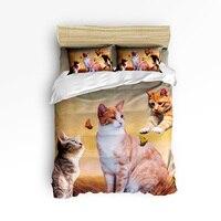 Funny Butterfly 3D Cat Kitten 3 Pcs 4 Pcs Bedding Set Home Decor Duvet Cover Set Comforter Bedding Sets Adult Kids Free Shipping