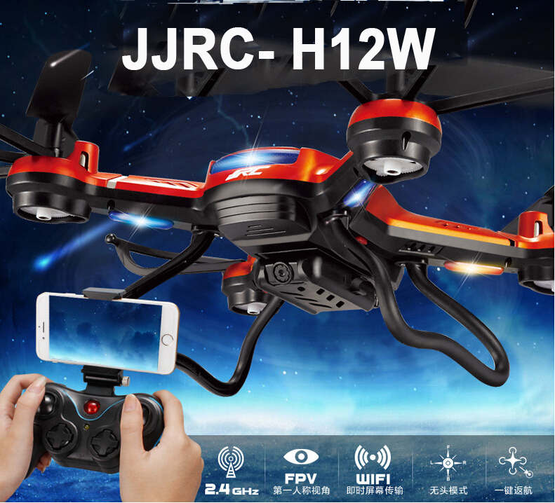 JJRC H12W Wifi FPV With 720P Camera Headless Mode One Key Return RC Quadcopter jjr c jjrc h43wh h43 selfie elfie wifi fpv with hd camera altitude hold headless mode foldable arm rc quadcopter drone h37 mini