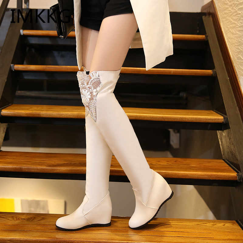 Women Boots 2018 Autumn Winter Ladies Fashion Flat Bottom Boots Shoes Over The Knee Thigh High Suede Long Boots V222
