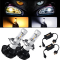 All-in-one Dual Color 3000K / 6500K 50w/pair H4 Hi-lo Beam Car LED Headlight Bulb 4000lm with Drivers Conversion Kit 12V 24V