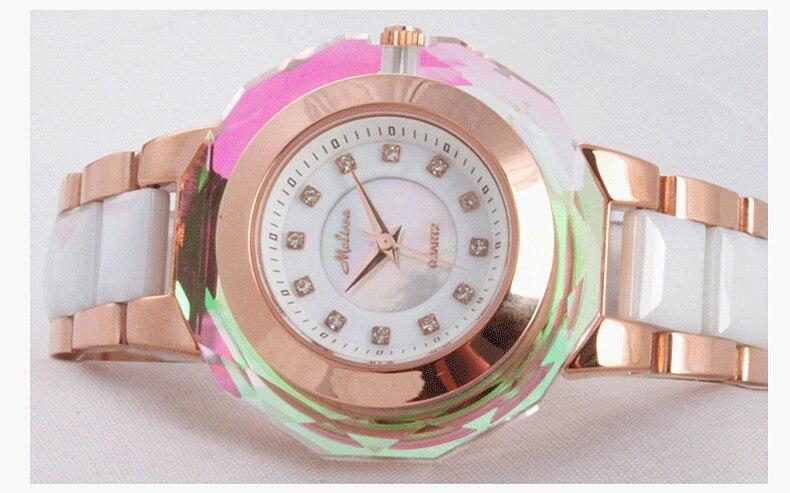 Mode multi face brillant cristal Montre classique MELISSA femmes en céramique Montre bracelet à la mode MELISSA Relogios Montre Femme F6285 - 3