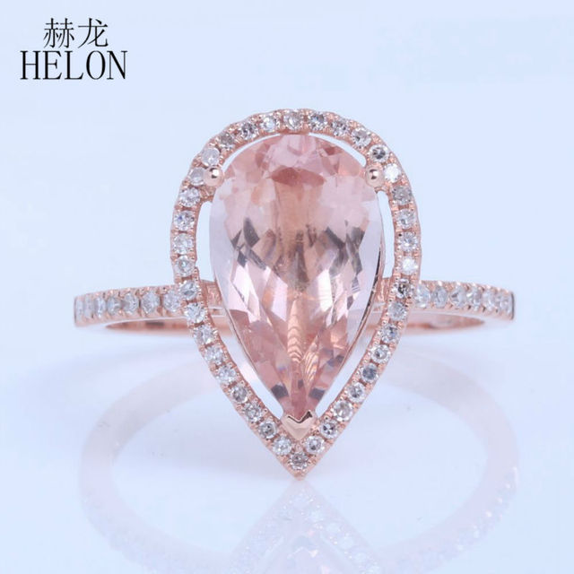 HELON 8x12mm Pear Shape Morganite & Pave Natural Dreamlike Glamorous Fashion Jewelry Ring Solid 14k Rose Gold Engagement Ring