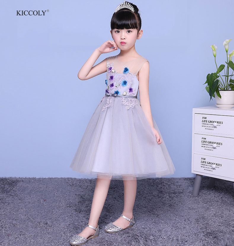 KICCOLY Flower Girls Dresses For 2018 Summer Tulle Party Baby Girls Sleeveless Princess Wedding Dress Children Party Vestidos ems dhl free 2018 new lace tulle baby girls kids sleeveless party dress holiday children summer style baby dress valentine