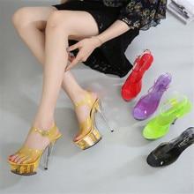 FeiYiTu  New Candy Color Nightclub 15CM High Heels Flower Sandals womens Shoes Catwalk Pole Dance Crystal Bottom Platform
