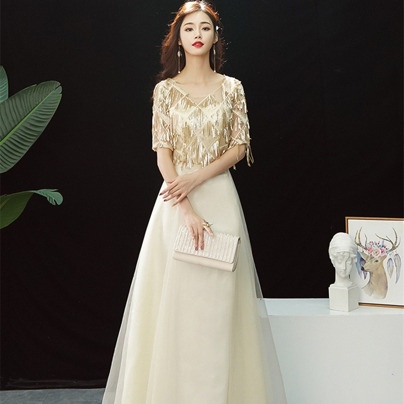Evening Dress Shining Sequined Tassel Half-sleeves Formal Prom Dress Zipper Back V-neck Short Sleeve A-line Long Party Gown E341