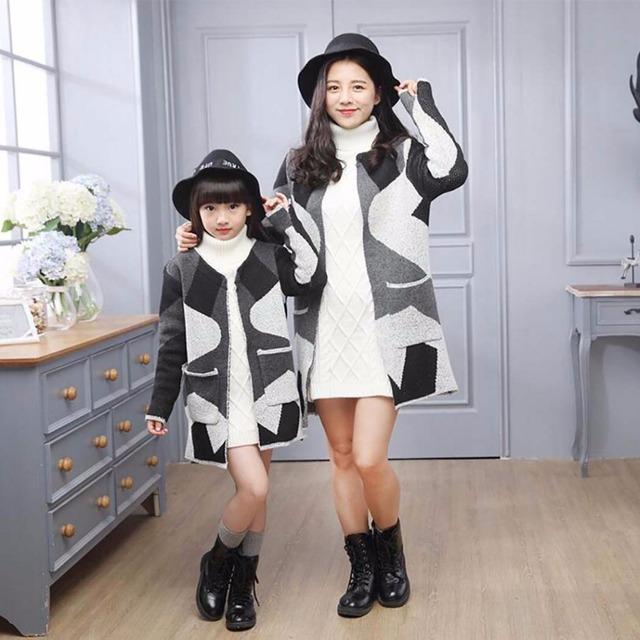 Nueva primavera otoño familia juego mirada de madre e hija ropa de niña trajes chaqueta cardigan madre e hija familia clothing hl8