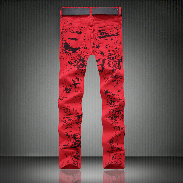 2018 Summer hot sale new arrival men jeans straight print red white slim fit fashion hip hop male trousers plus size designer