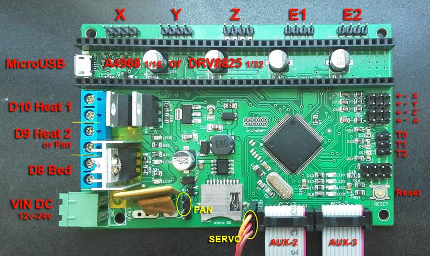 Prix pour Nouvelle Version AZSMZ contrôleur de type ARM 32bit 3d imprimante, Machines CNC, Découpe Au Laser (Comme Azteeg x5 mini smoothieboard) rampes Up
