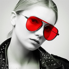 Pop Age 2018 New Red Lens  pilot Sunglasses Women Men Brand Designed Metal Pilot Sun Glasses Luxury Lunettes de soleil 400UV