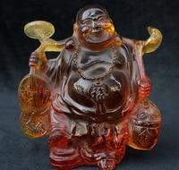 6 Китай Янтарный резные счастливый смех Будды Майтреи Yuanbao Монета Бог богатства Статуя