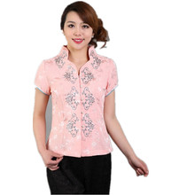 Free Shipping Fashion pink Chinese Women's clothing Polyester Satin Blouses Shirt tops Flower Size M L XL XXL XXXL TD11