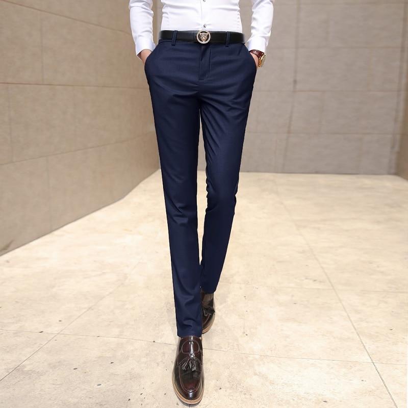 2017 new fashion Mens Dress Pants For Wedding Formal Pants Men Suit Men Slim Business Trousers Elasticity Men Suit Pants ...