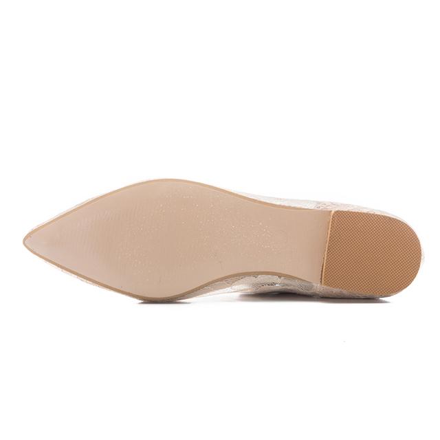 2018 Summer Fashion Luxury Women Soft Hollow Lace Rhinestone Pointed Toe Ballet Flats Ladies Mesh Designer Boats Wedding Shoes