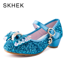 SKHEK Kids or Childrens Shoes Spring And Summer Crystal Bow Shiny High Heels Princess Shoe Hot Sale New Girls Sandals SKU B1122