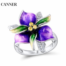 Canner Flower Crystal Rings 925 Sterling Silver Purple For Women Mothers Day Gift