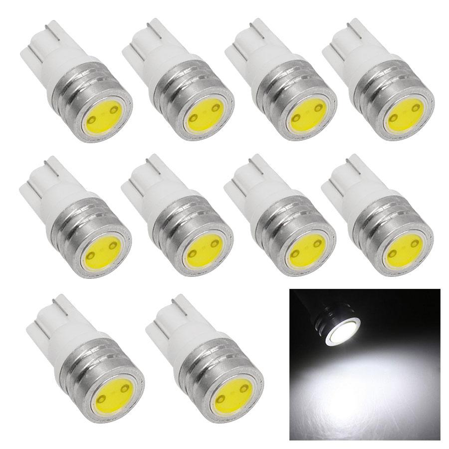 10PCS/Lot T10 1W 184 2450 2521 White LED Car Light Source High Power Auto Door Light Clearance Bulb Brake Corner Parking Light