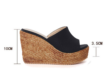 Plus Size 40-45 Beach Slippers Women's Platform Shoes 2018 Summer Sandals Open Toe Wedges Shoes Casual Small Yard 31 32 3