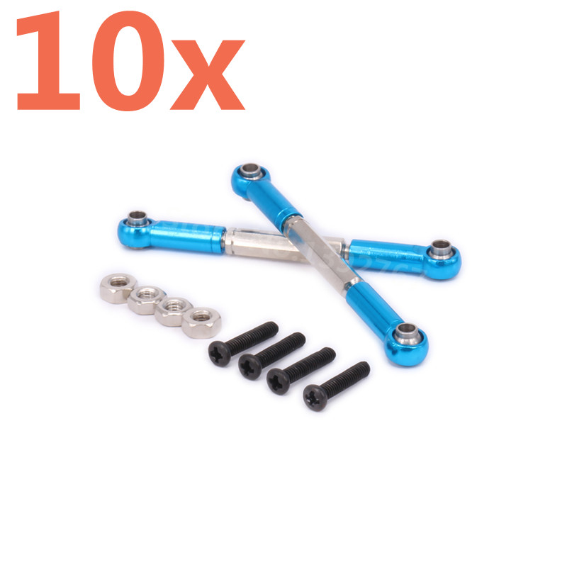 10 Pieces Aluminum Alloy Real Damper Tie Rod Toe Link 7038 For RC Hobby Car 1/16 Scale Models Traxxas Slash Hop-up Part CNC