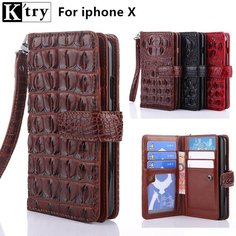 K'try Portefeuille Cas pour Apple Iphone X De Luxe Crocodile Motif Pu en cuir avec Tpu Couverture De Chiquenaude Cas pour Iphone X