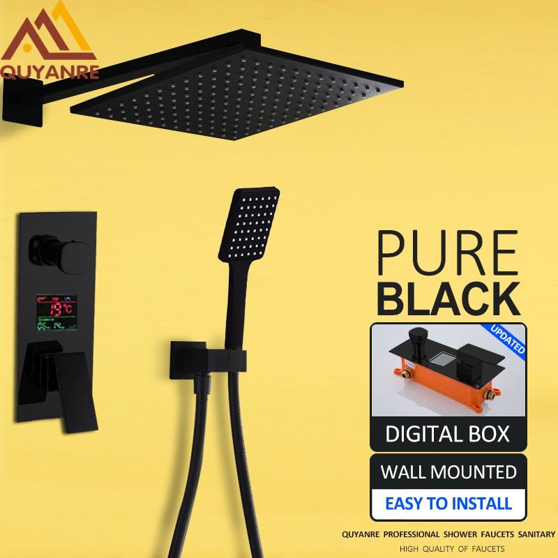 Quyanre 2-Functions Black Digital Shower Faucets Se Rainfall Shower Head 2-way Digital Display Mixer Tap Conceal Bathroom Shower