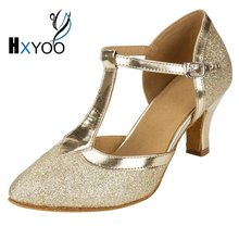 HXYOO 2017 In Stock Glitter Closed Toe Ballroom Shoes Women Salsa Dance Shoes Latin Tango Gold Silver Soft Sole WK025