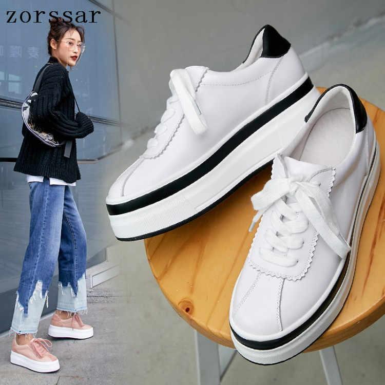 2019 neue Frauen Flache Plattform turnschuhe Schuhe Damen Echtes Leder Dicken boden Casual Schuhe Lace up Wohnungen Mokassins creepers