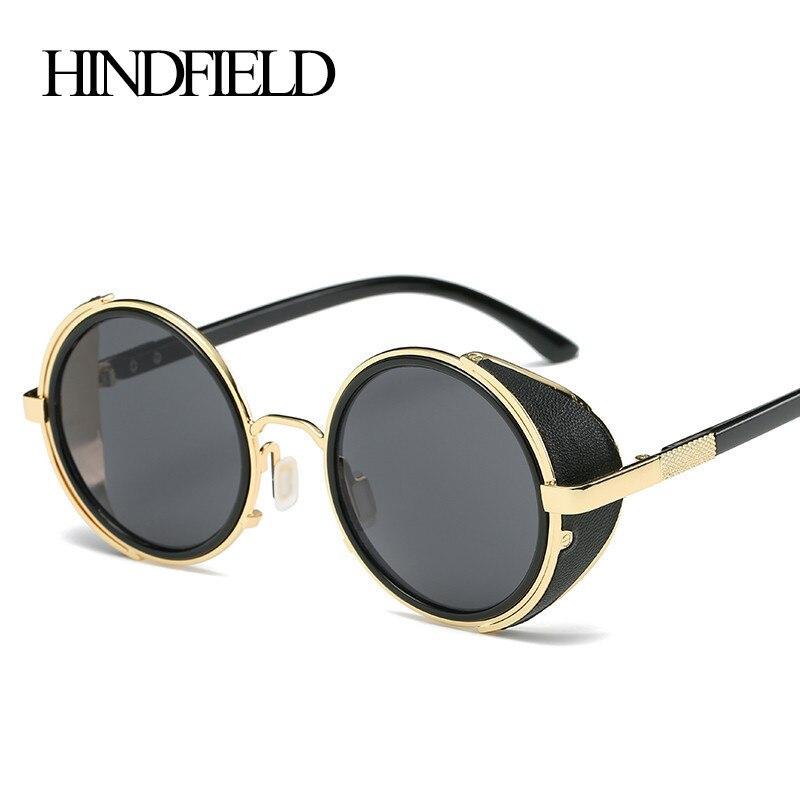 HINDFIELD Vintage Women Steampunk sluneční brýle Značka Design kulaté sluneční brýle Brýle Pánské Unisex Retro styl Punk Oculos De Sol