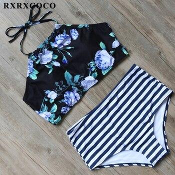 RXRXCOCO wysokiej talii strój kąpielowy kobiety zabudowane pod szyję stroje kąpielowe wyściełana Bikini kobiece seksowne paski Bikini Set Halter bandaż strój kąpielowy