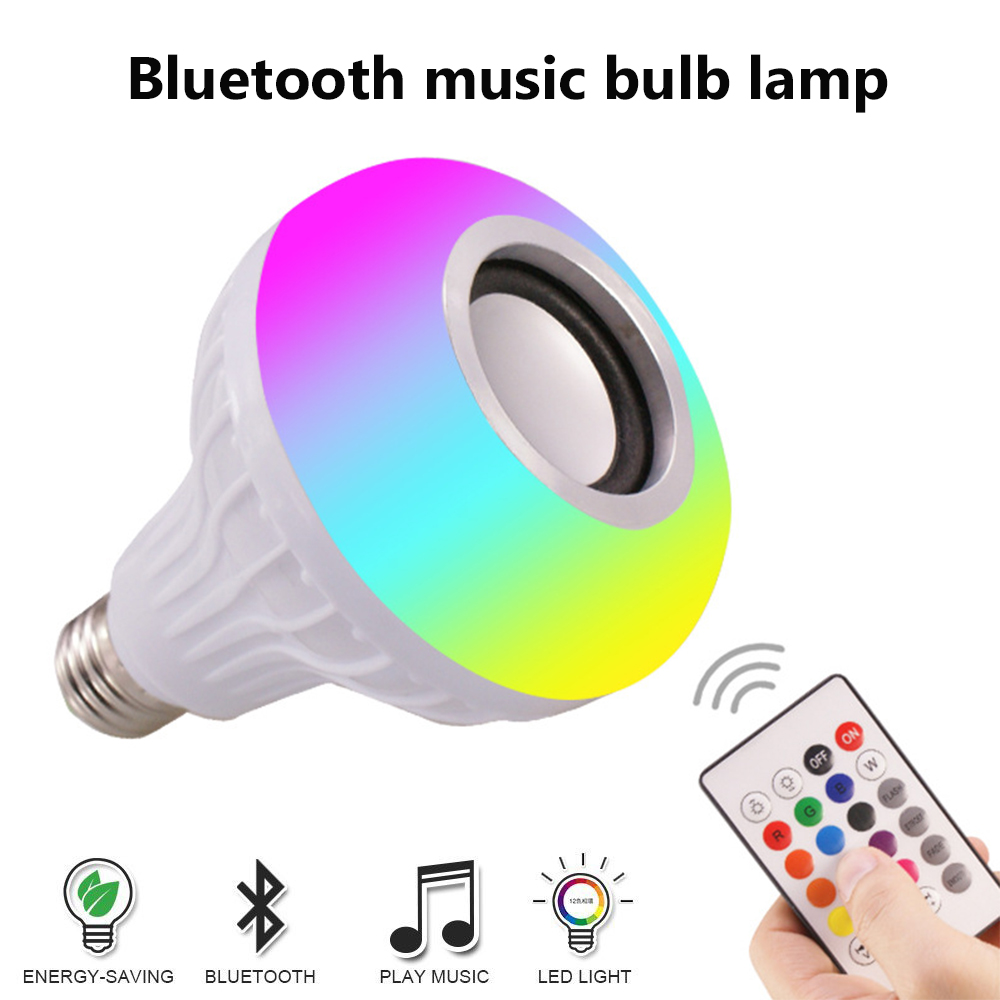E27 Wireless Bluetooth Speaker 12W RGB Bulb LED Lamp 110V to 240V Smart Led Light Music Player Audio with Remote Control in Portable Speakers from Consumer Electronics