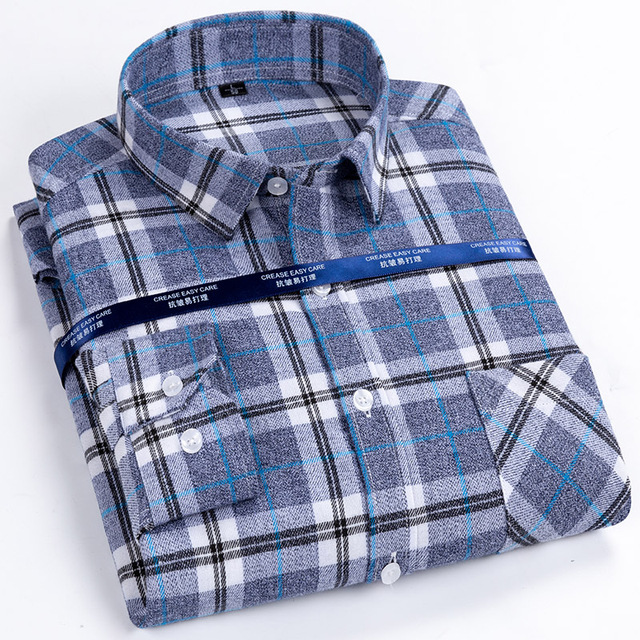 Men's Standard-fit Long-Sleeve Brushed Flannel Shirt Single Patch Pocket Comfortable 100% Cotton Plaid Checkered Casual Shirts