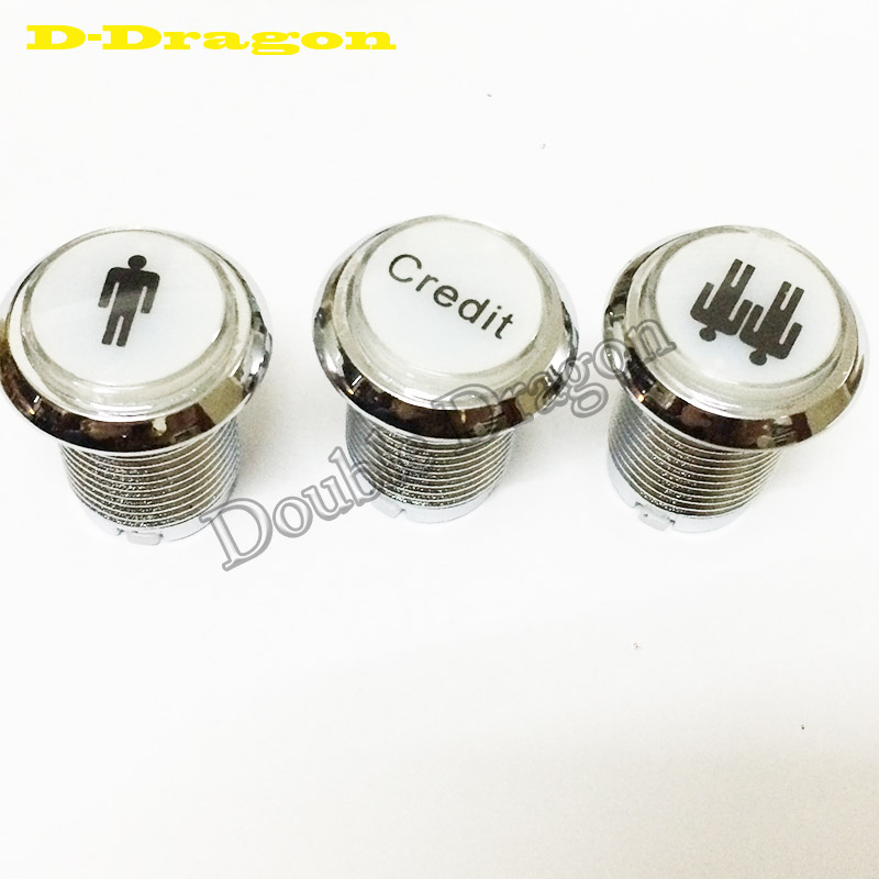 12V Chrome Illuminated Arcade Push Button Start 1 player 2 players Credit Led Push buttons Switch for JAMMA MAME(China)
