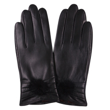 Leather Gloves Female Autumn Winter Cute Ball Keep Warm Touch Screen Driving Plush Lined Thicken Sheepskin Woman Gloves L18006NC стоимость