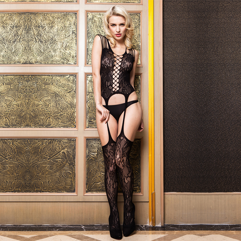 Sexy Lace Body Stocking Open Crotch Strap Women Sexy Body Suit Exotic Lingerie Apparel Teddies Girl Lingeries Stockings
