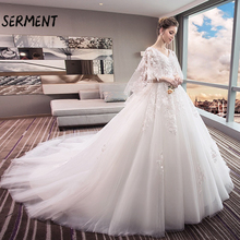 SERMENT  2019 New Princess Lace Appliques Pearls Bridal Gowns 2 in 1 Ball Gown Wedding Dresses