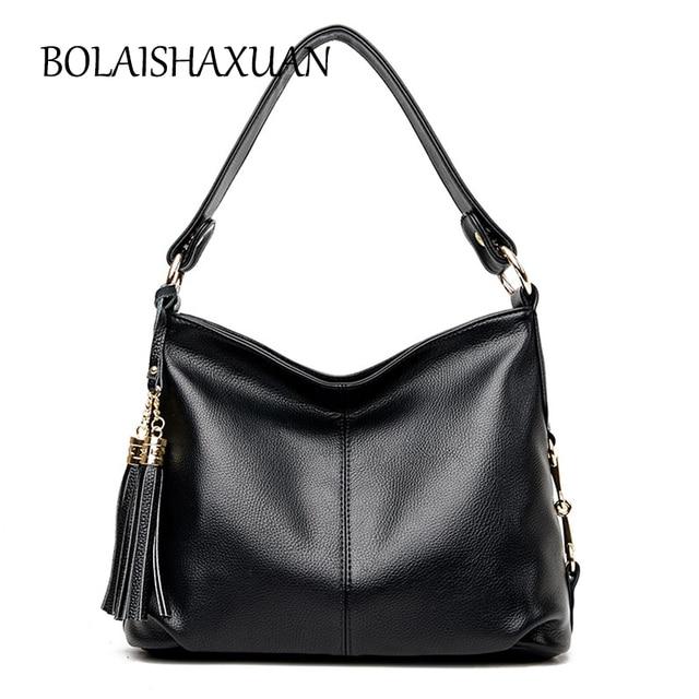 Large Capacity Tote Fringe Handbag Luxury Black Handbags Women Leather Bags Famous Brand Crossbody Bag