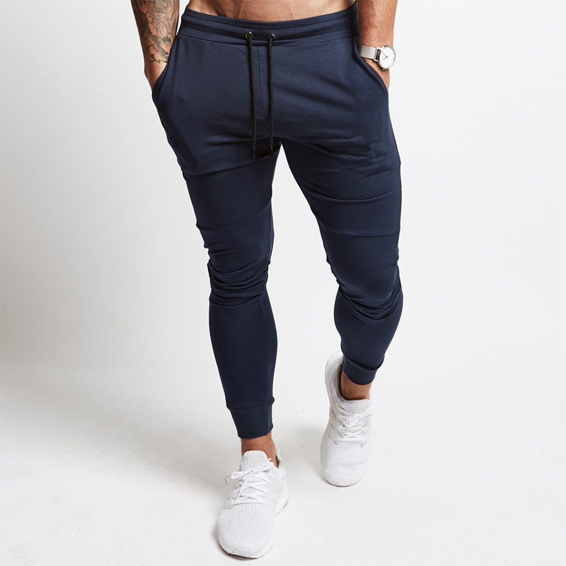 New Men's Fitness Pants, Light Plate, Pure-color Sports Slim Pants, Leisure Sports Men Jogger Streetwear Harem Pants Men 2019