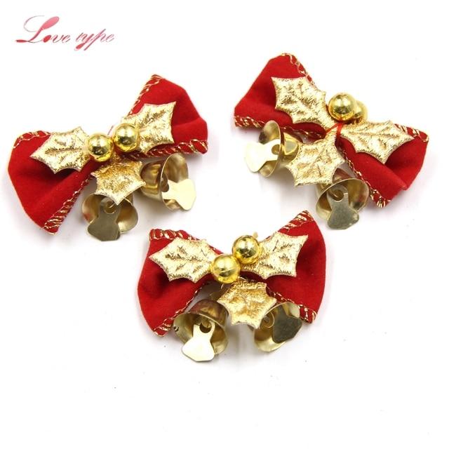 new10pcs diy christmas tree bow christmas ornaments with gold bells home decor christmas - Diy Christmas Bows