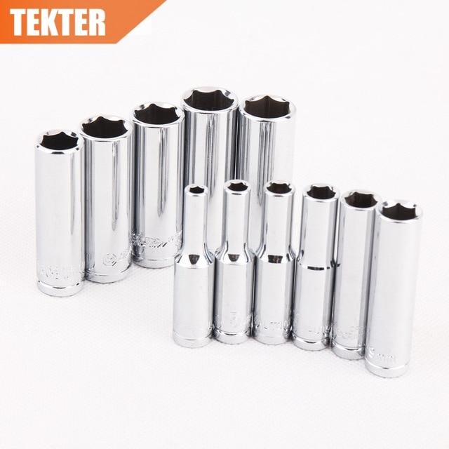 TEKTER 11PC 1/4 Drive Deep Socket Set CRV Hand Tools Long Socket Free shipping herramientas outillage ferramentas