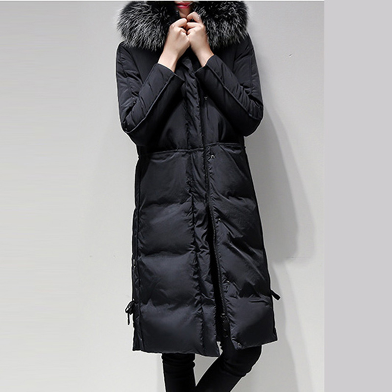 womens whiter duck   down     coats   winter Snow warm long jackets Plus Size 4xl Female parka big Fur Collar   down     coat   outerwear QH0869