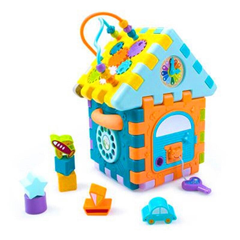 Puzzle éducatif précoce multifonction pour bébé forme géométrique assembler une boîte de produits à neuf côtés cadeaux pour enfants H395